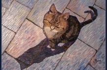 Schilderij poes, olieverf 60 x 80 cm, particulier bezit