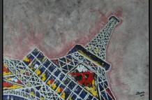 Tour Eiffel Paris, acryl 70 x 100 cm, particulier bezit