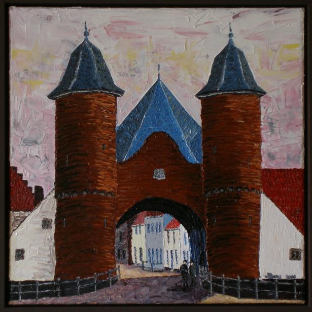 Veldpoort Wijk bij Duurstede, olieverf 40 x 40 cm, € 899,-