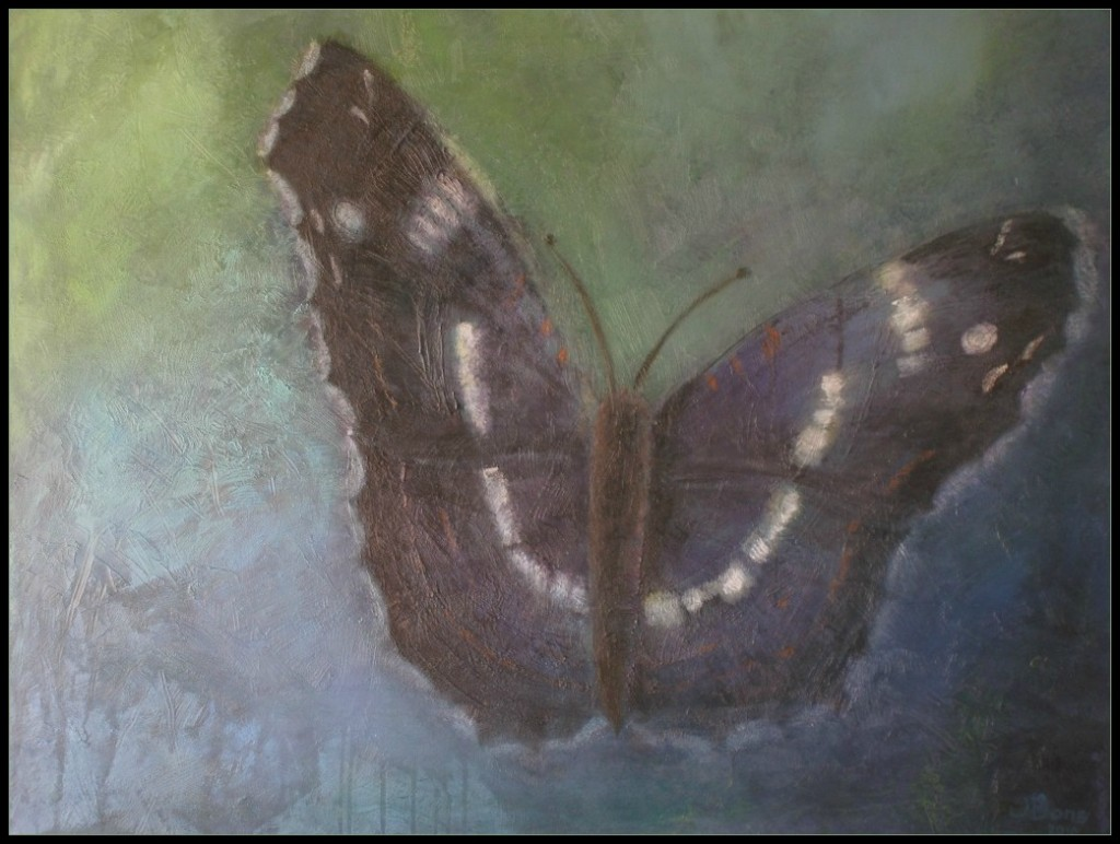 Vlinder, acryl 70 x 90 cm, € 319,-