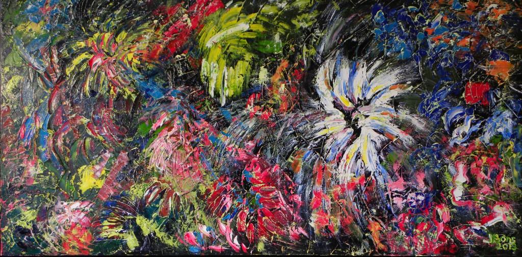 Schepping, olieverf 70 x 140 cm, € 589,-