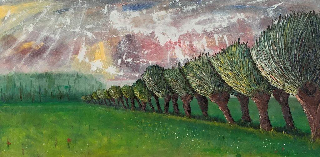 Zicht op Langbroek, acryl 70 x 140 cm, particulier bezit