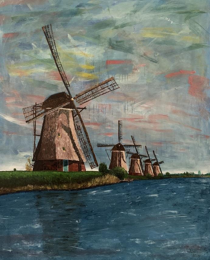 Molens Kinderdijk, olieverf en acryl 120 x 150 cm, € 7.850,-